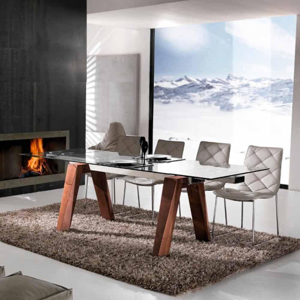 Tavolo allungabile in legno massello e vetro temperato chad for Tavoli allungabili