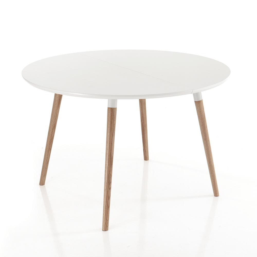 Tavolo allungabile in legno piano bianco opaco ian - Tavolo scandinavo ...