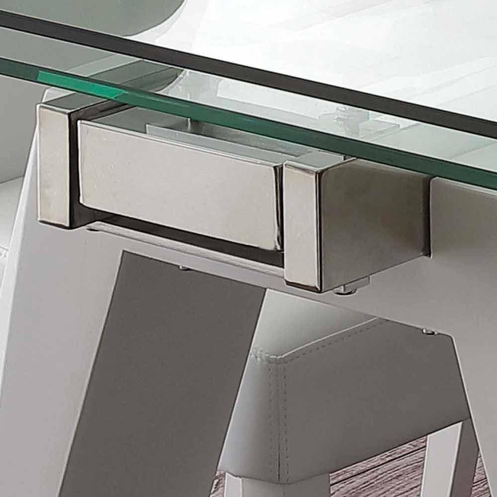 Tavolo allungabile in vetro, acciaio inox e metallo bianco Florida