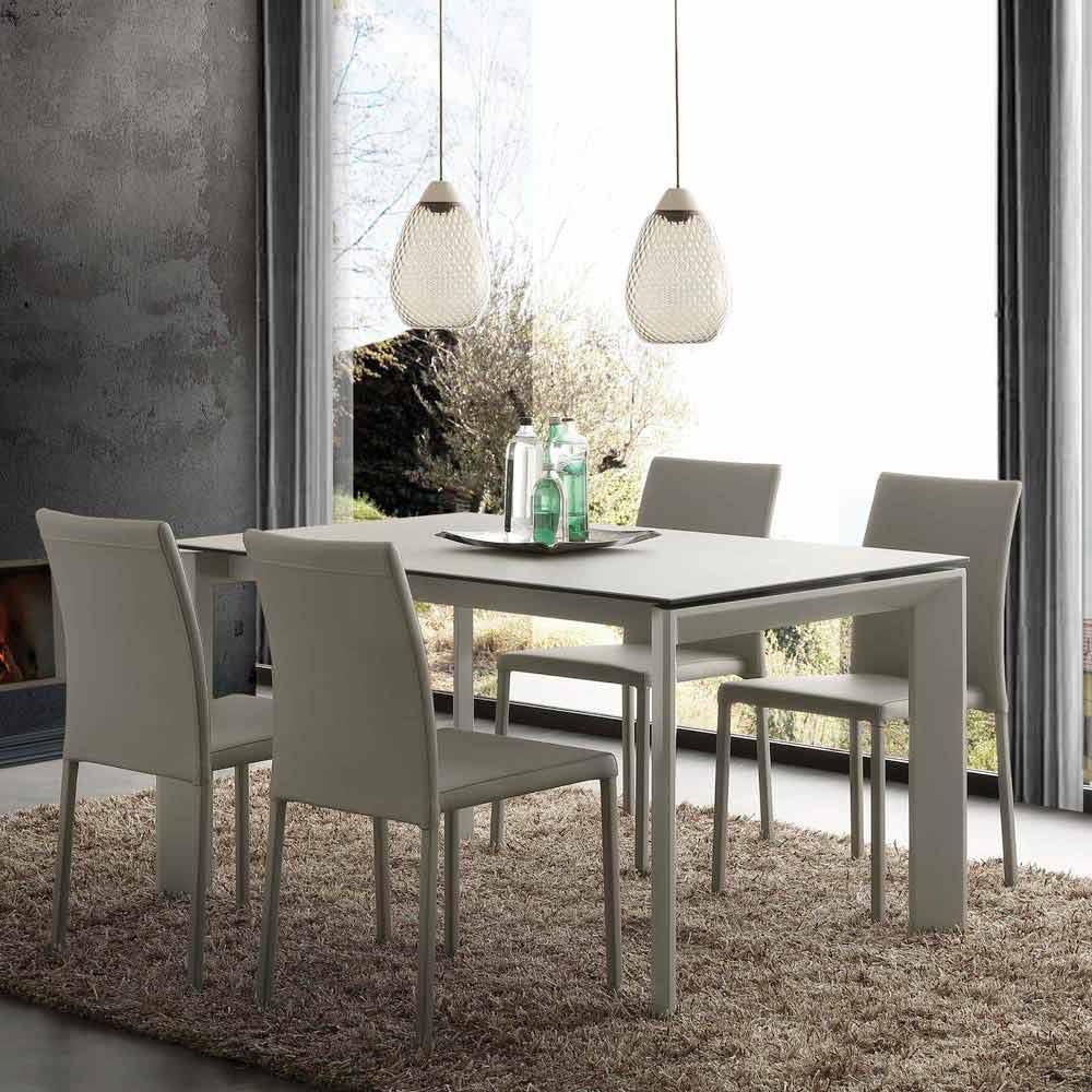 Tavolo allungabile moderno con piano in vetro ceramica for Tavolo allungabile moderno
