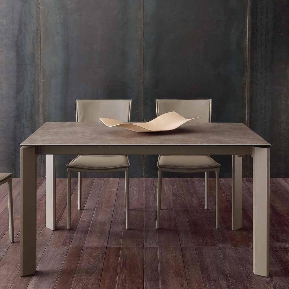 Tavolo allungabile moderno con piano in vetro ceramica - Piano tavolo vetro ...