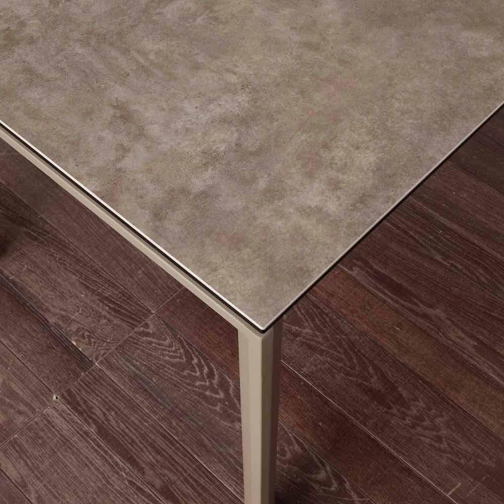 tavolo allungabile moderno con piano in vetro ceramica filadelfia - Come Estendere Un Tavolo Allungabile Lato