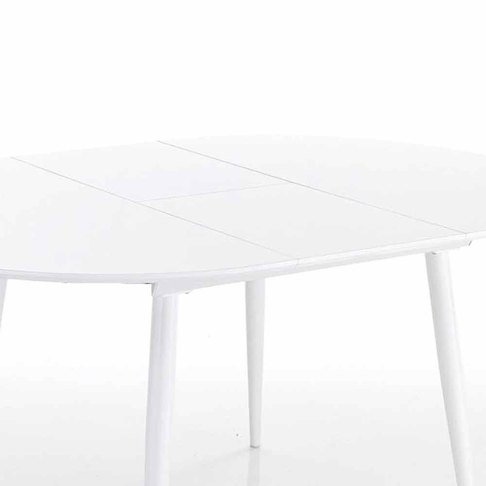 Tavolo Allungabile Rotondo da Pranzo in Mdf Bianco - Ismaele