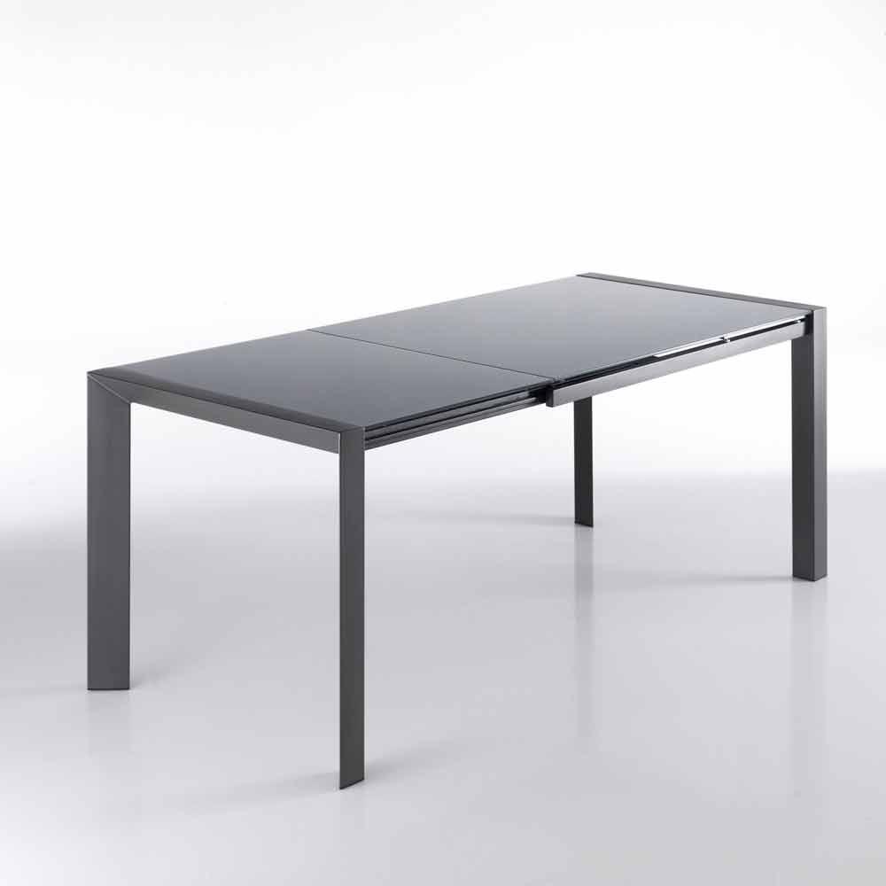 Tavolo allungabile vetro temperato verniciato grigio e for Tavolo allungabile grigio