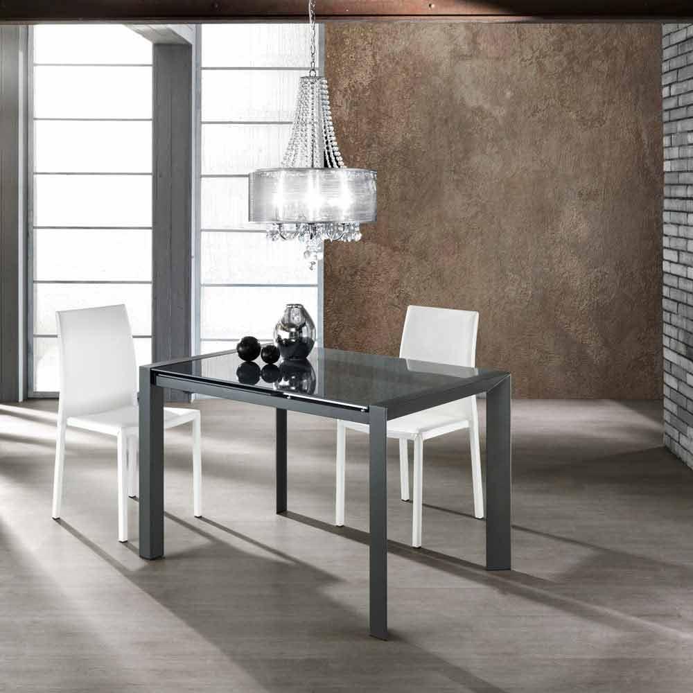 Tavolo allungabile vetro temperato verniciato grigio e metallo Zeno