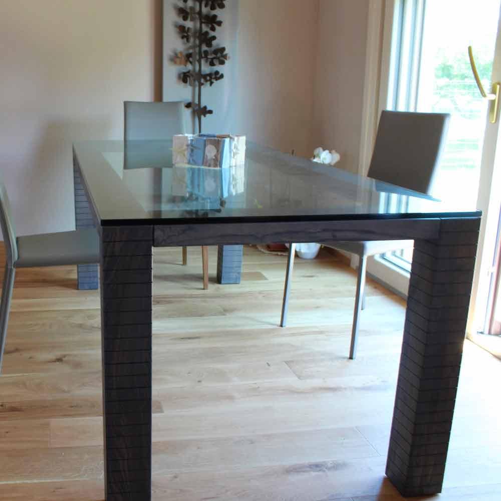 Tavolo da Pranzo in Cristallo e Legno Frassino Made in Italy