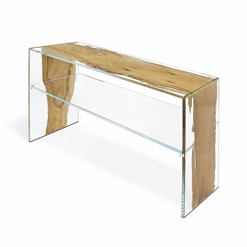 Tavolo consolle in legno di briccola di venezia e vetro fenice for Consolle in vetro
