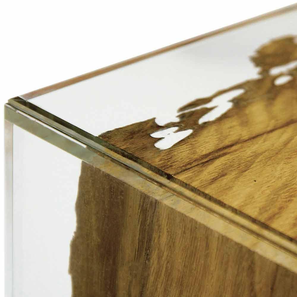 Tavolo consolle in legno di briccola di venezia e vetro fenice for Tavolo vetro e legno