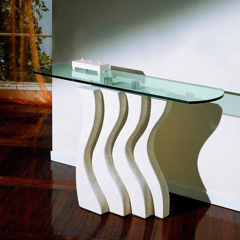 Tavoli A Consolle Moderni.Tavolo Console Moderno In Vetro E Pietra Eziadilabio