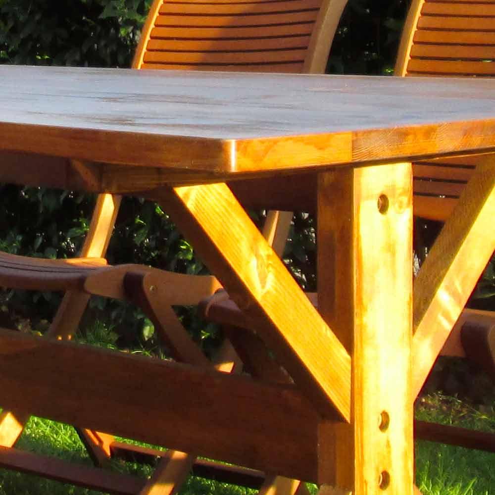 Tavolo da Esterno Stile Rustico in Legno Abete Made in Italy