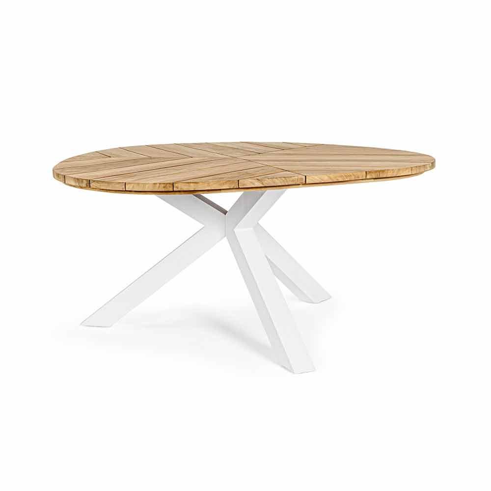 Tavolo da Pranzo da Esterno con Piano Rotondo in Legno di Teak