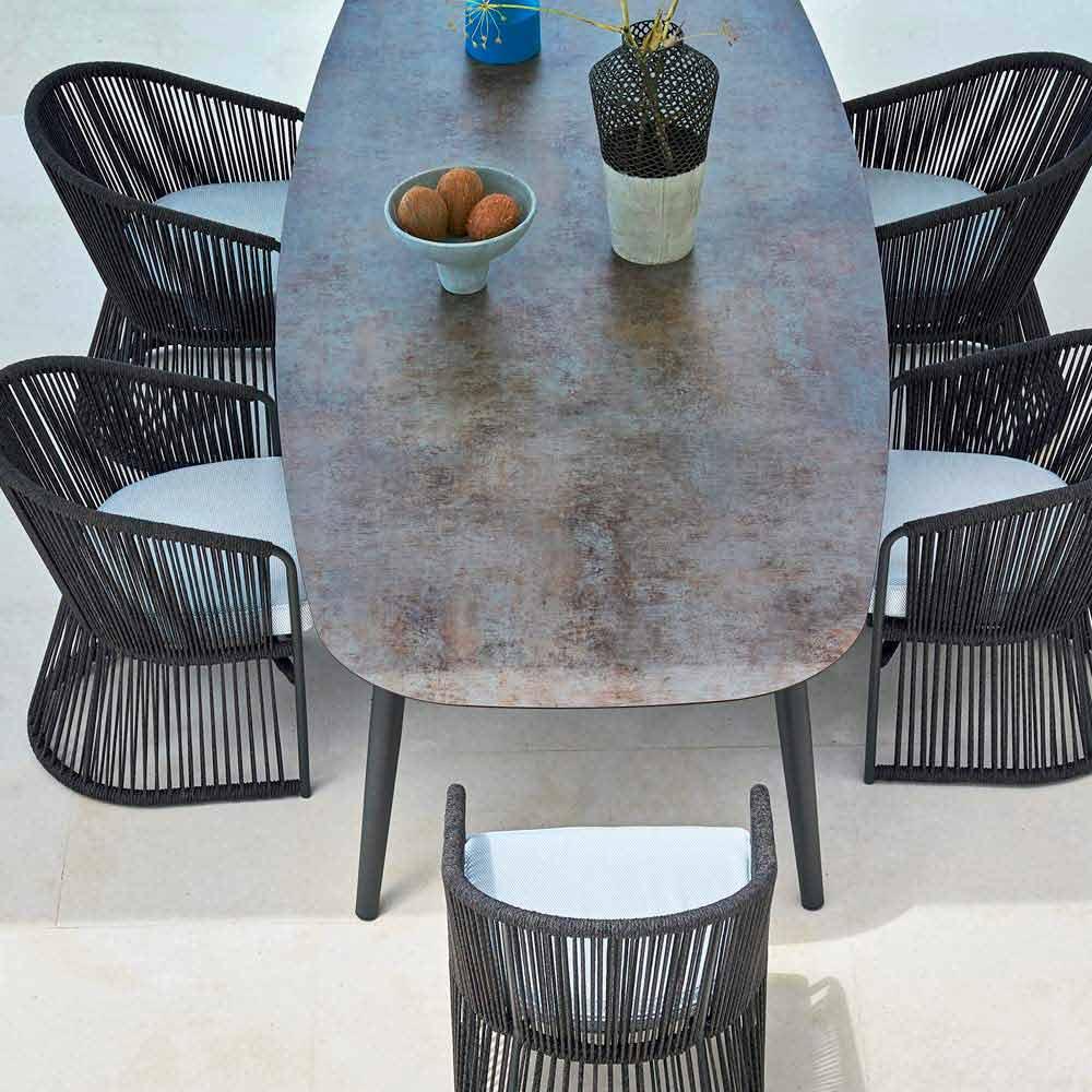 Tavoli Da Esterno Colorati.Tavolo Da Giardino Vraschin Ellisse Moderno In Alluminio Colorato