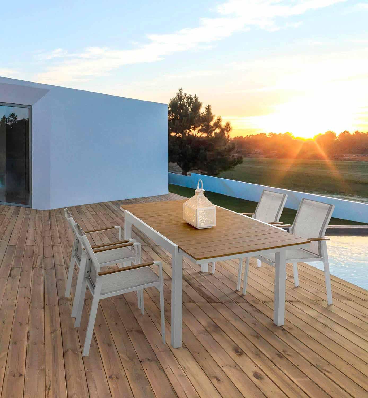 Tavolo da Esterno Allungabile 200 cm in Alluminio Bianco e ...