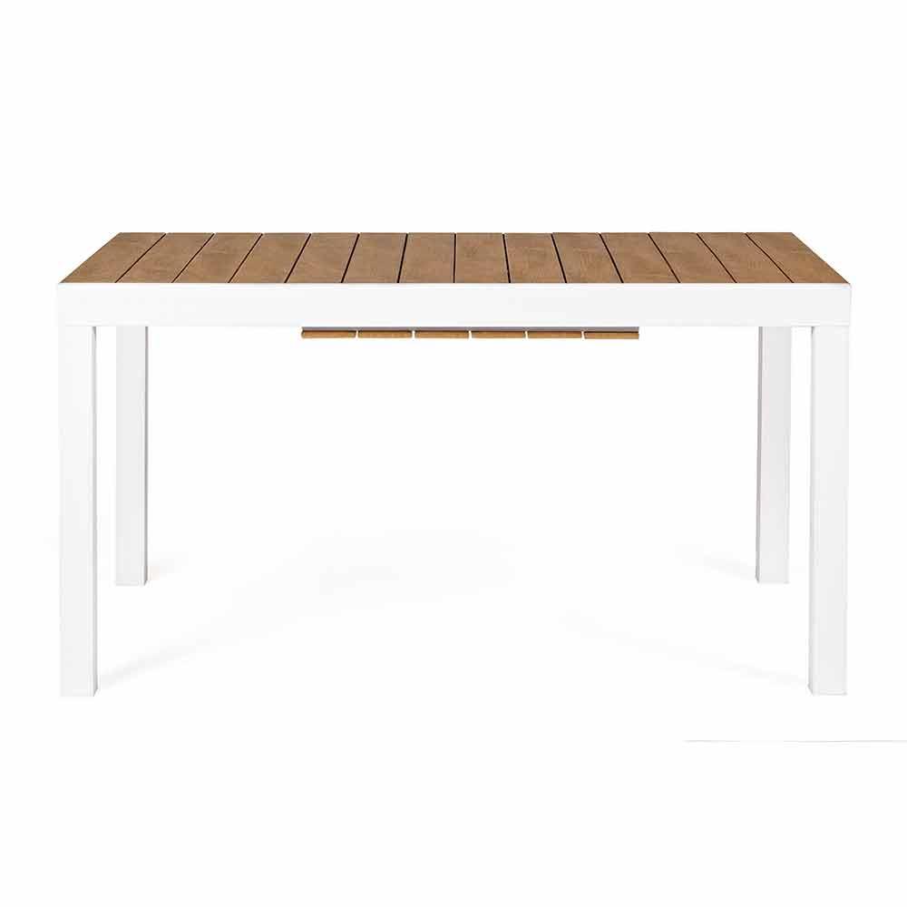Tavolo Da Esterno Allungabile 200 Cm In Alluminio Bianco E Legno