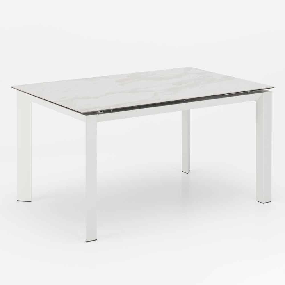 Tavoli Da Giardino Con Piano In Ceramica.Tavolo Allungabile Moderno Con Piano In Ceramica Effetto Marmo Nosate