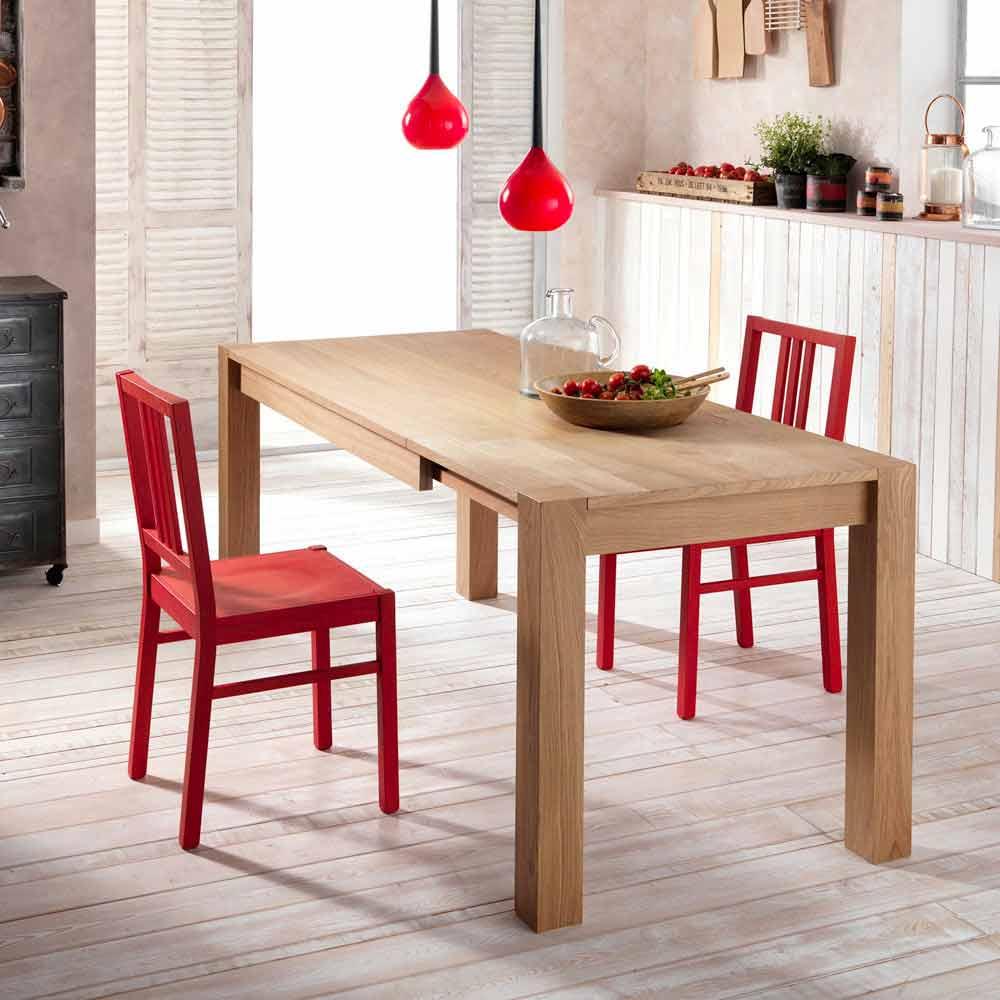 Tavolo da pranzo allungabile in legno di rovere fedro for Tavoli in legno allungabili
