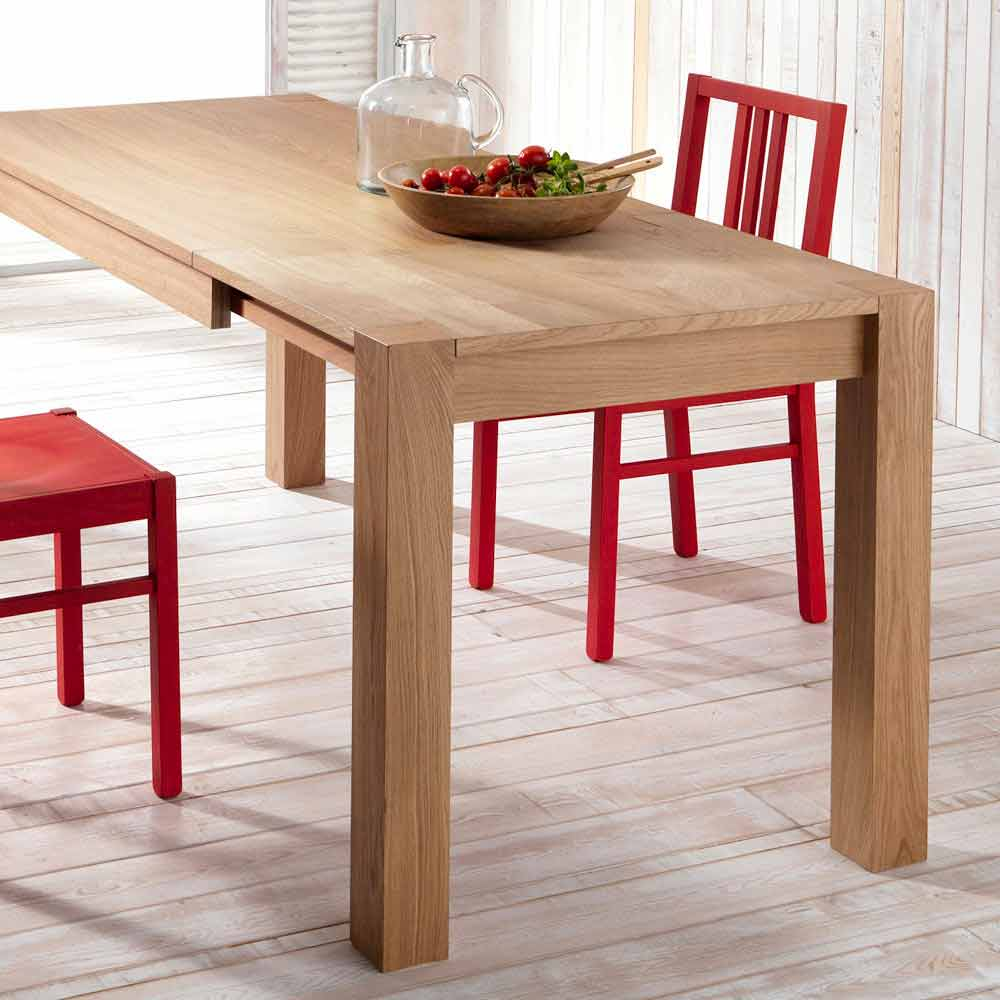 Tavolo da pranzo allungabile in legno di rovere fedro for Tavolo di legno allungabile