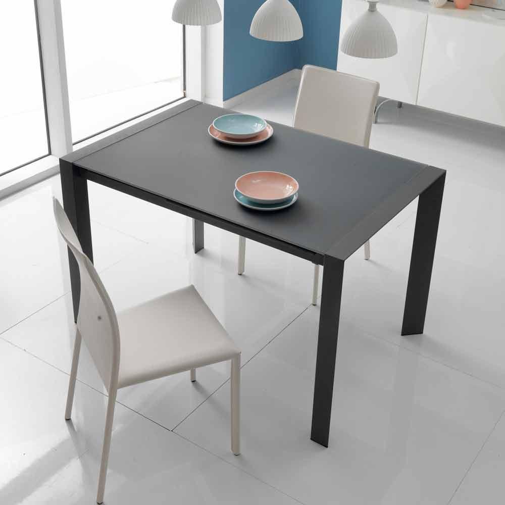 Tavolo da pranzo allungabile in vetro e metallo oddo for Tavoli da cucina design