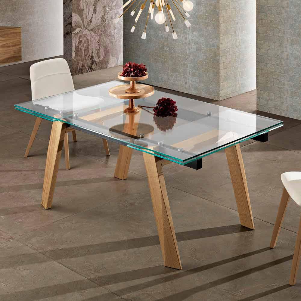 Tavolo allungabile in vetro di design moderno fatto in for Tavolo pranzo vetro