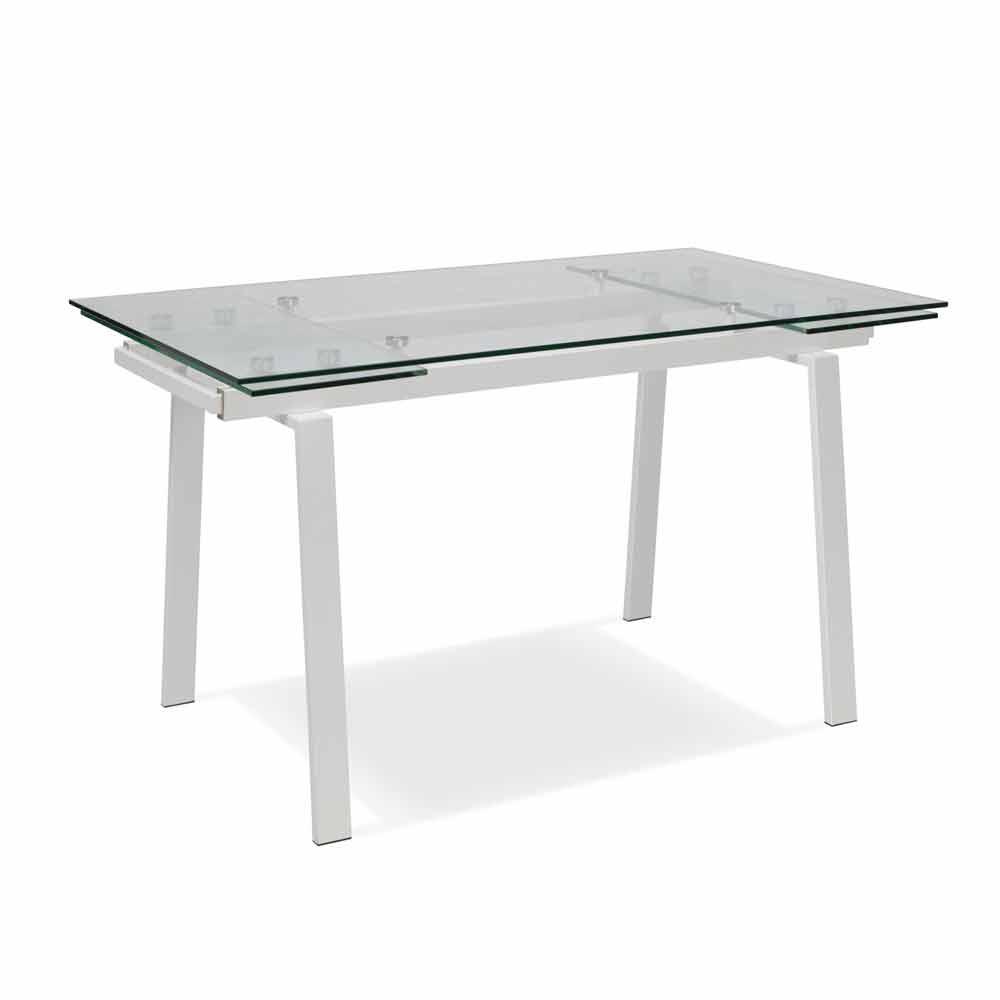 Tavolo da pranzo allungabile moderno in vetro l140 200x for Tavolo pranzo trasparente