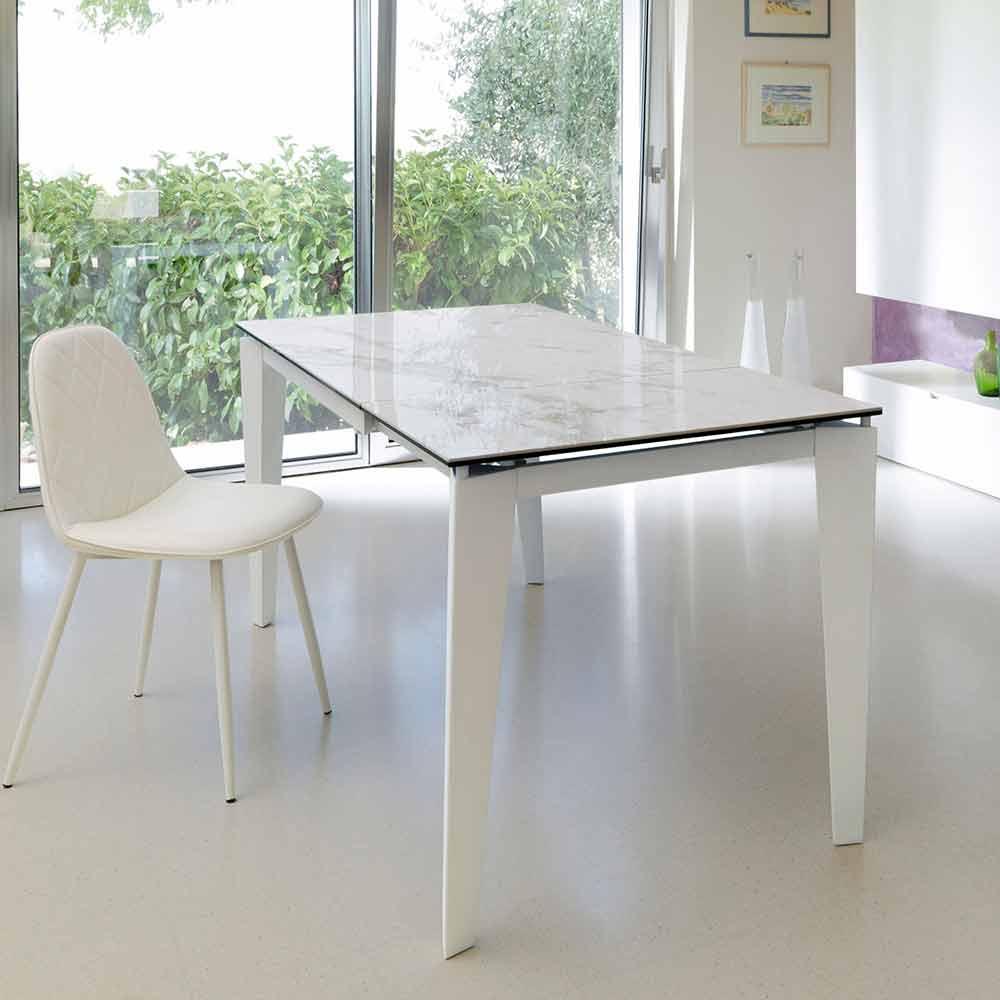 Tavolo da pranzo allungabile vetro ceramica 120 170xp80 for Tavolo vetro pranzo