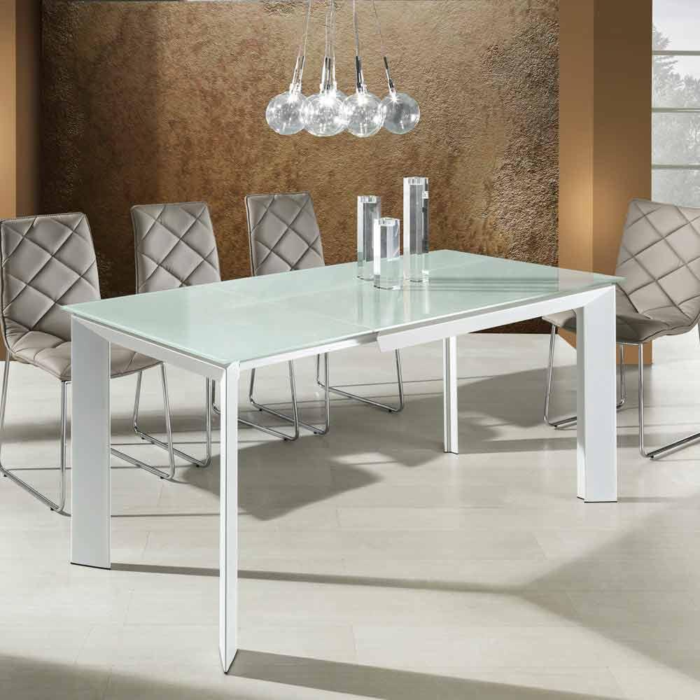 Tavolo da pranzo con piano vetro temperato verniciato bianco zeno - Tavolo pranzo vetro ...