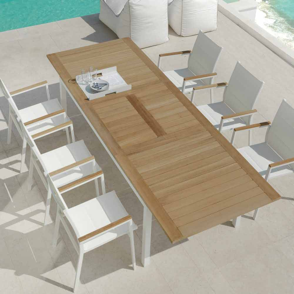 Tavolo da pranzo da giardino allungabile in legno di teak for Tavolo giardino