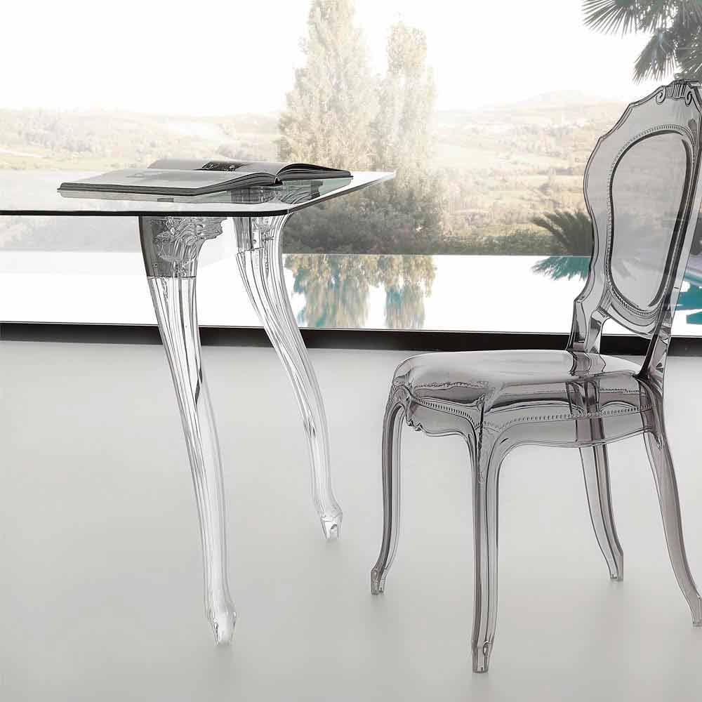 Tavolo da pranzo design moderno con piano in vetro temperato jinny - Tavolo pranzo cristallo ...