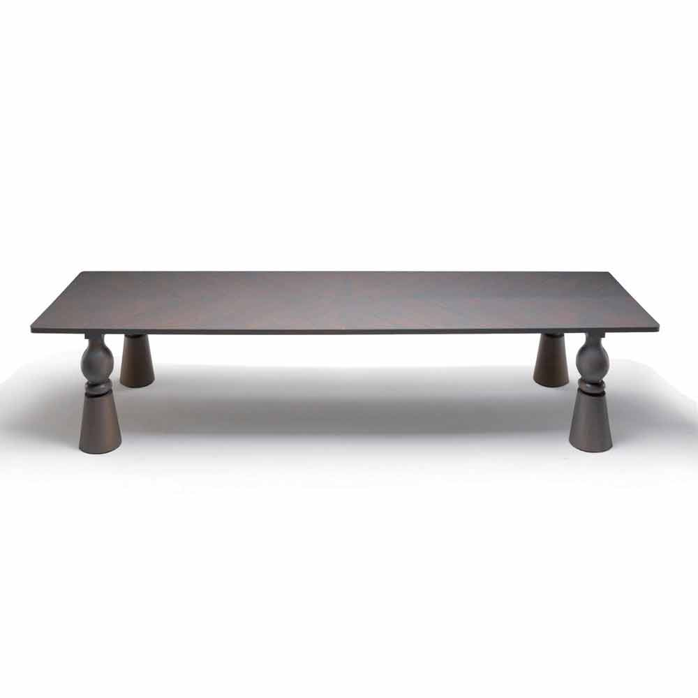 Tavolo da pranzo di design in legno rovere grigio, made in Italy,Teseo