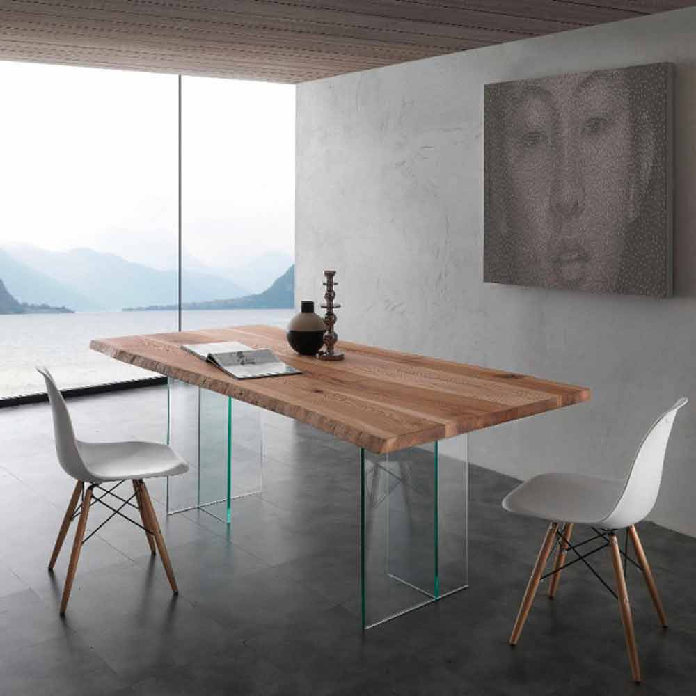 tavolo da pranzo in legno massello e vetro marlon. Black Bedroom Furniture Sets. Home Design Ideas