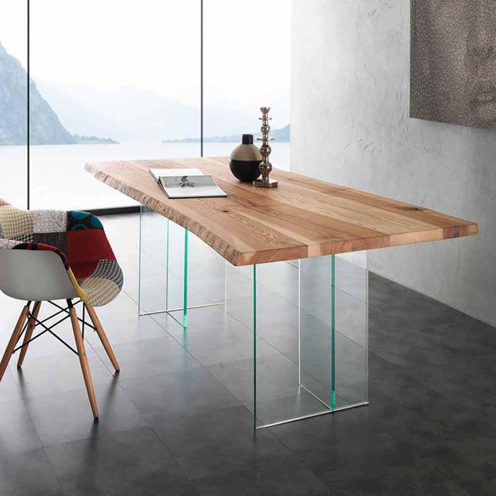 Tavolo da pranzo in legno massello e vetro marlon for Tavolo in legno design