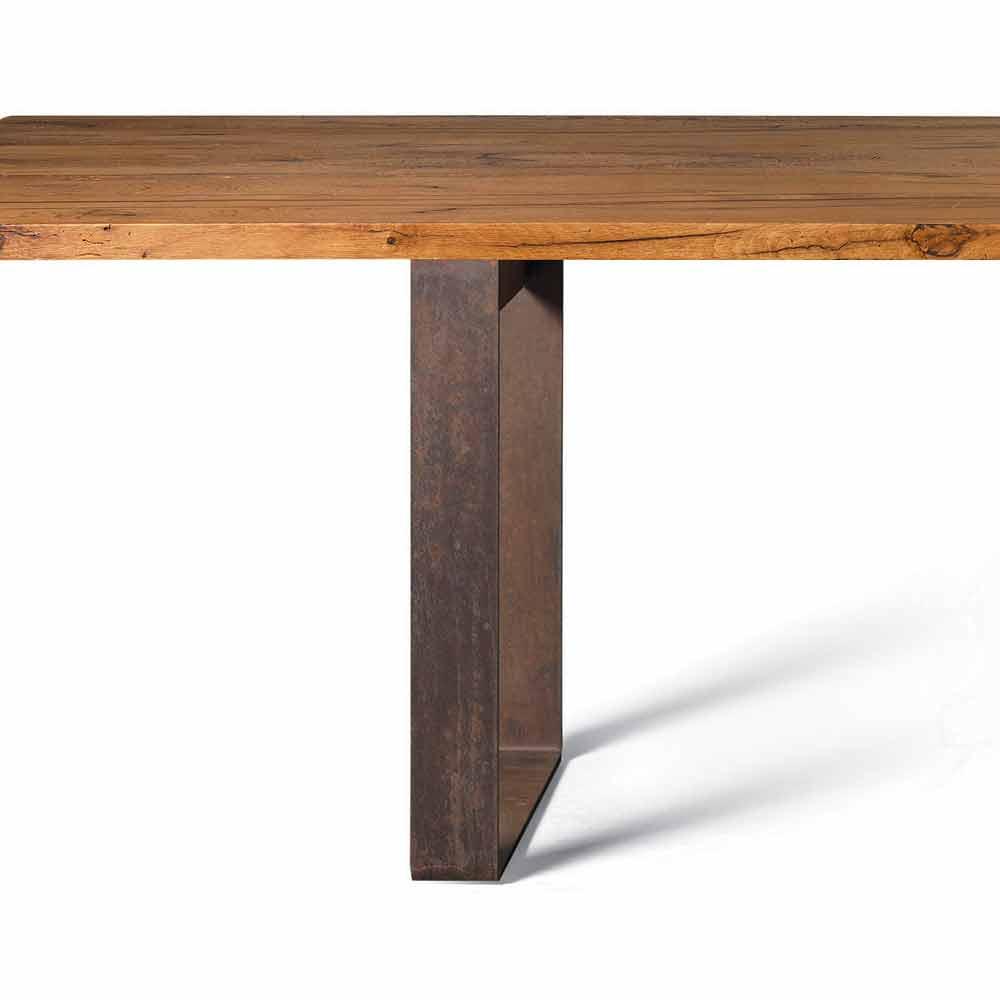Tavolo fisso in legno scortecciato noce naturale design, Antonio