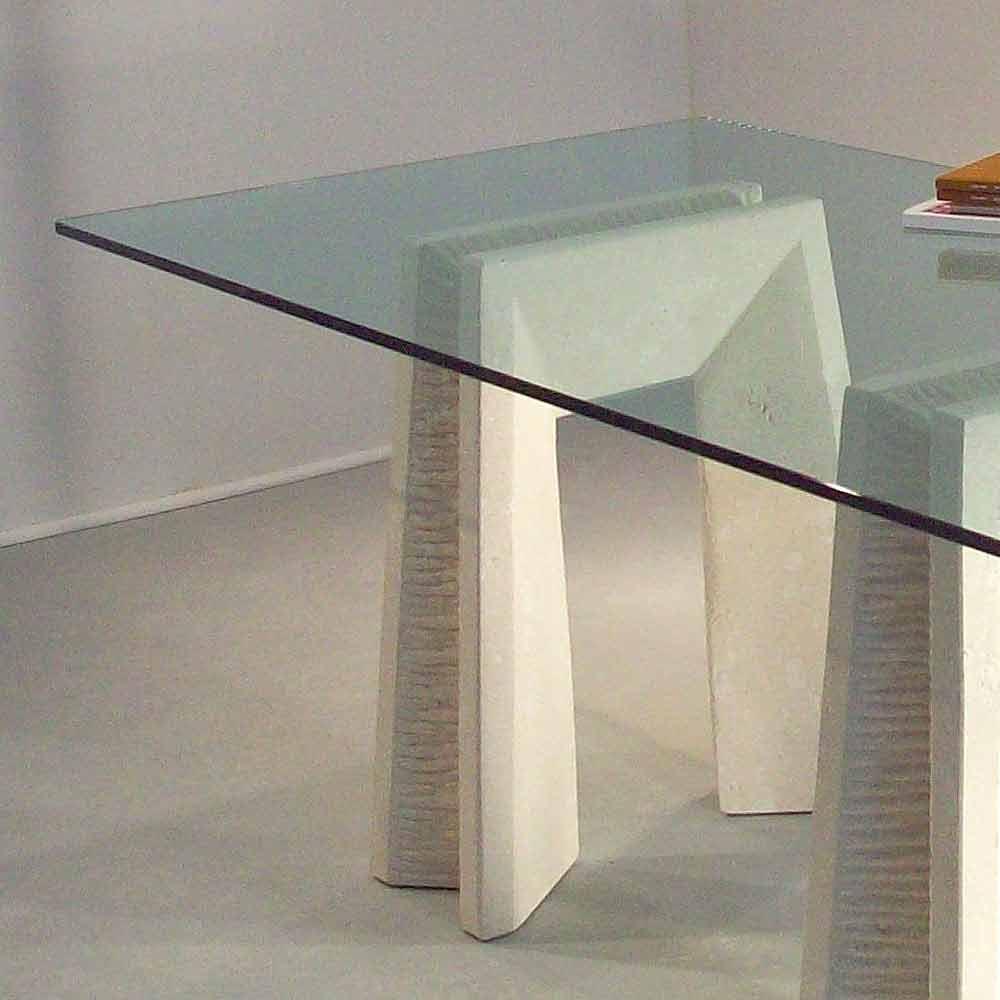 Tavolo in pietra di vicenza scolpito a mano arianna piano cristallo - Tavolo pranzo cristallo ...