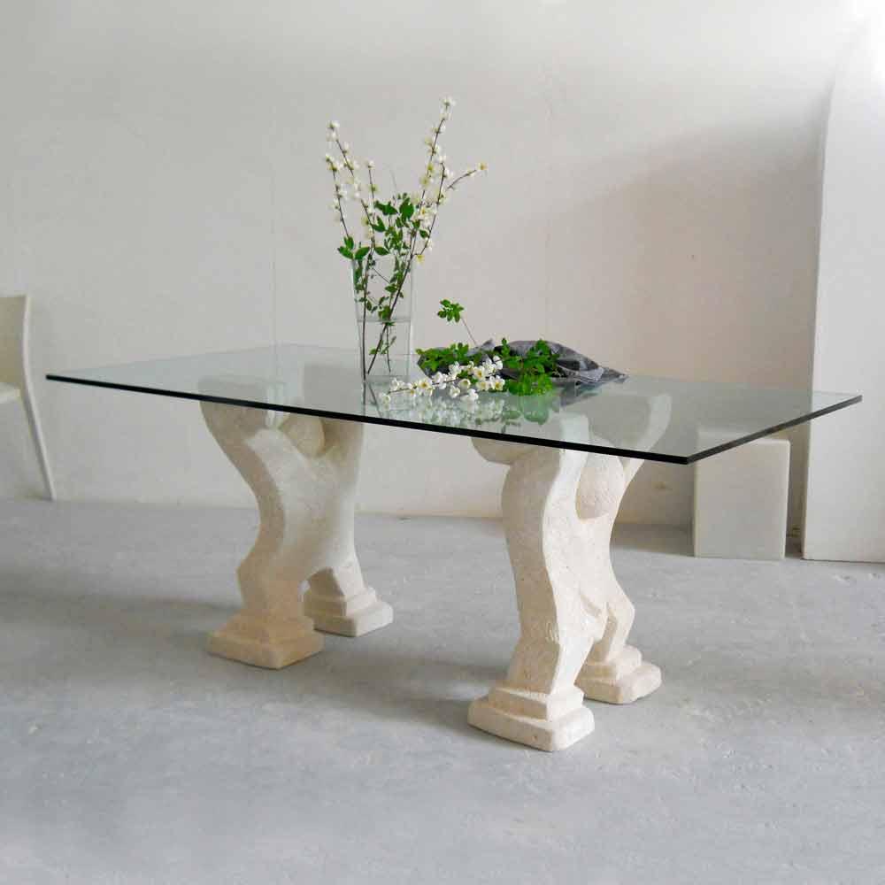 Tavolo in pietra di vicenza e cristallo medusa scolpito a mano - Tavolo pranzo cristallo ...
