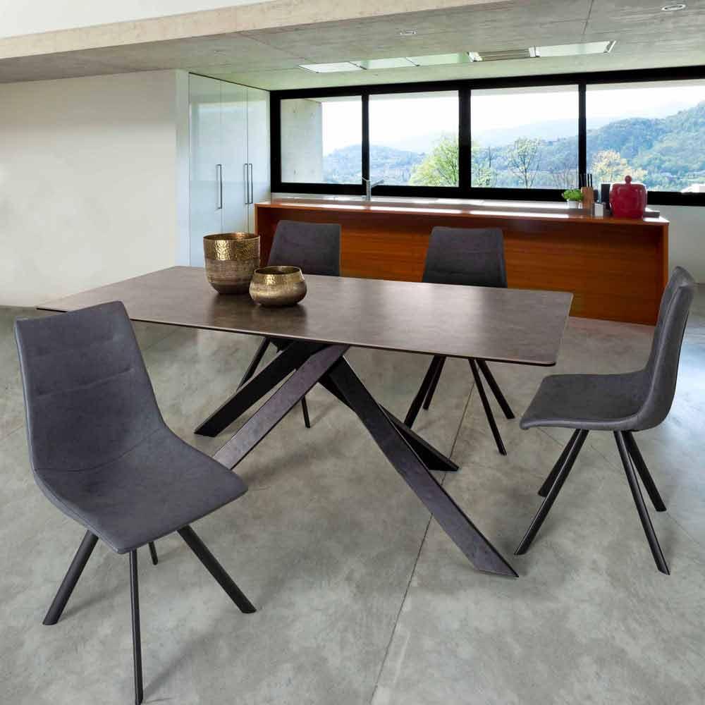 Tavolo da Pranzo 6 Posti di Design in Ceramica Vetro e Acciaio