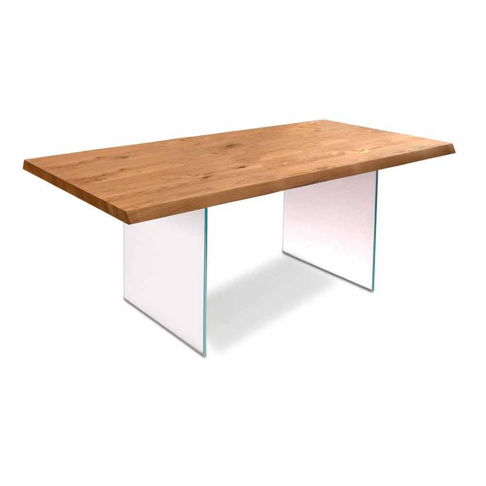Tavolo da pranzo moderno in impiallacciato rovere gambe for Viadurini tavoli