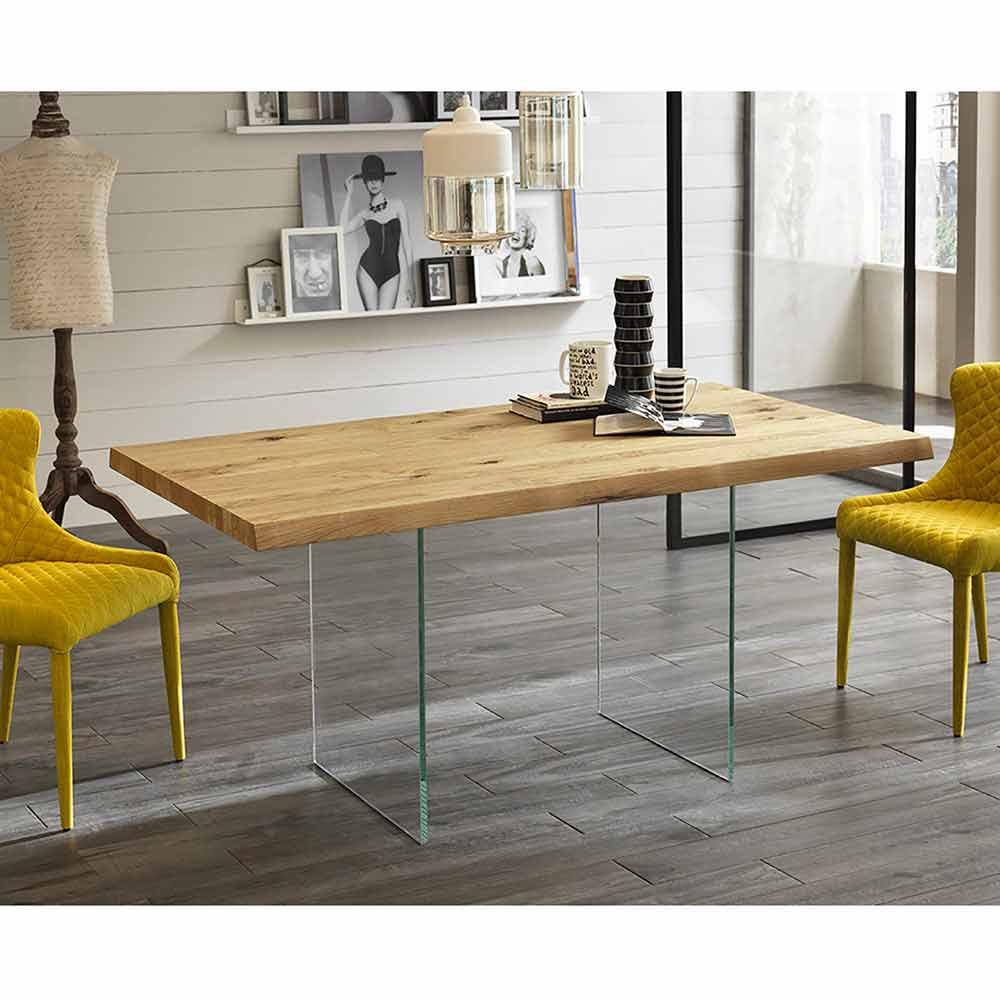 Tavolo da pranzo moderno in impiallacciato rovere, gambe in vetro Nico
