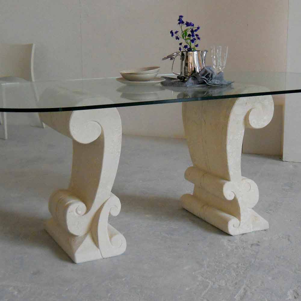 Tavoli In Pietra E Cristallo.Tavolo Ovale Scolpito A Mano In Pietra Di Vicenza E Cristallo Aracne