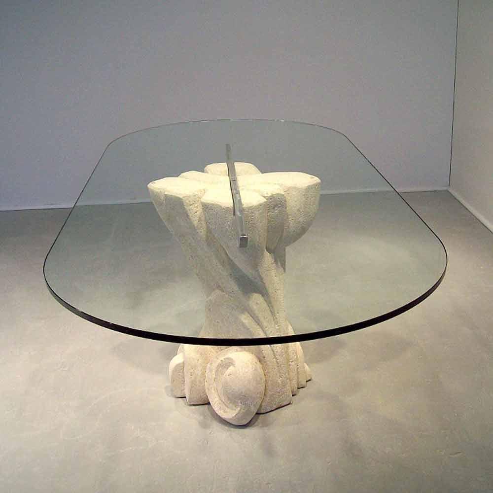 Tavoli Da Pranzo In Cristallo Design.Tavolo Ovale Scolpito A Mano In Pietra Di Vicenza E Cristallo Afrodite