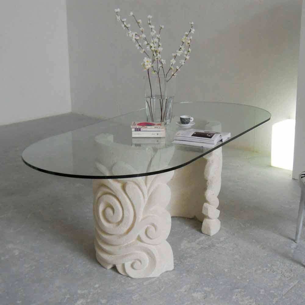 Tavolo ovale in pietra di vicenza e cristallo aden scolpito a mano - Tavolo pranzo cristallo ...