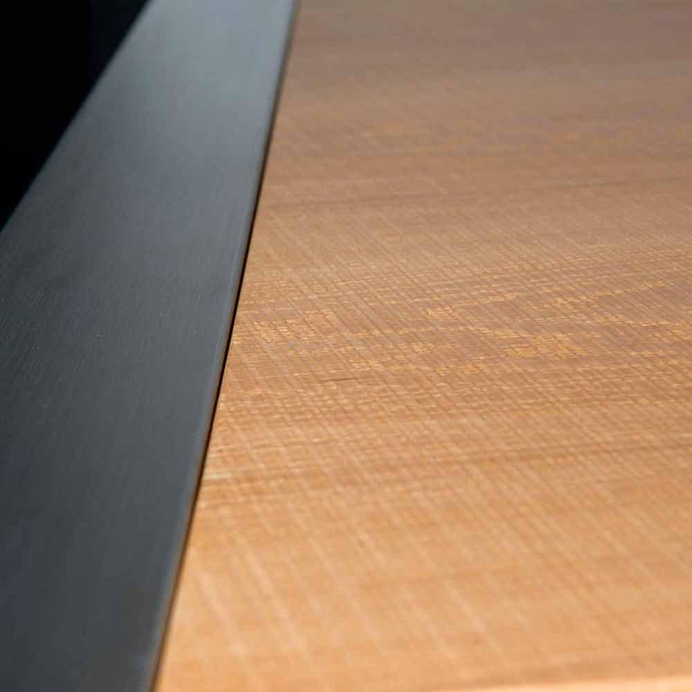 Tavolo da pranzo rettangolare in legno di rovere e acciaio Frodo