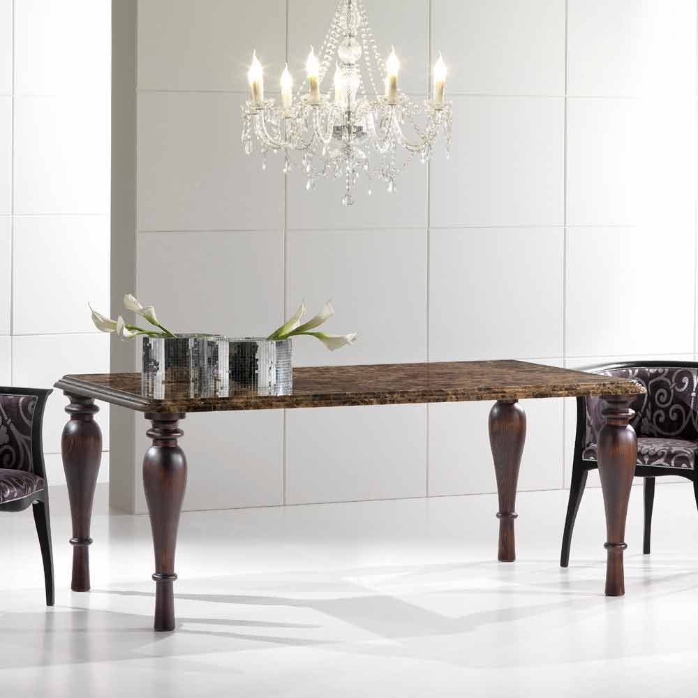 Tavolo da Cucina in Marmo Emperador e Legno Made in Italy
