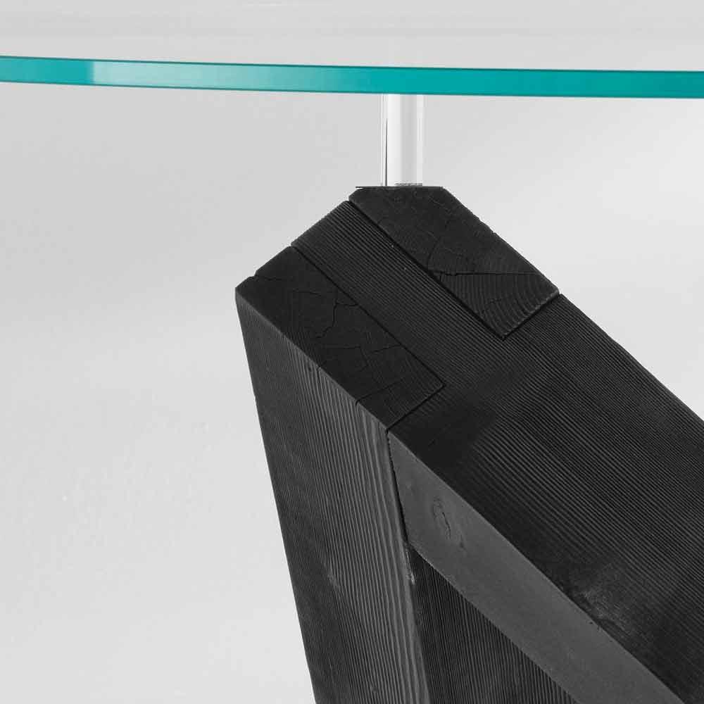 tavolo da pranzo rotondo in legno con piano in vetro bao design moderno