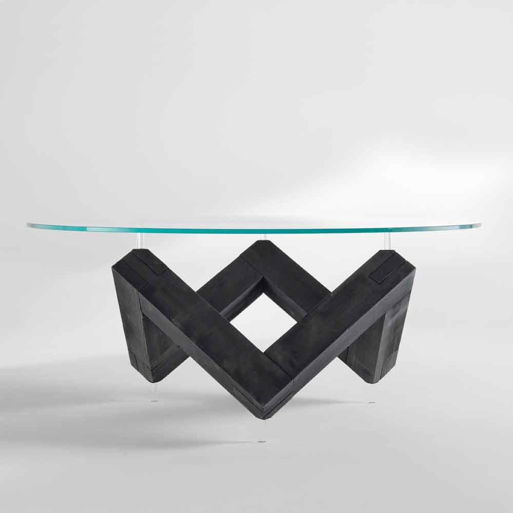 Tavolo da pranzo rotondo in legno con piano in cristallo bao for Tavolo cristallo rotondo design