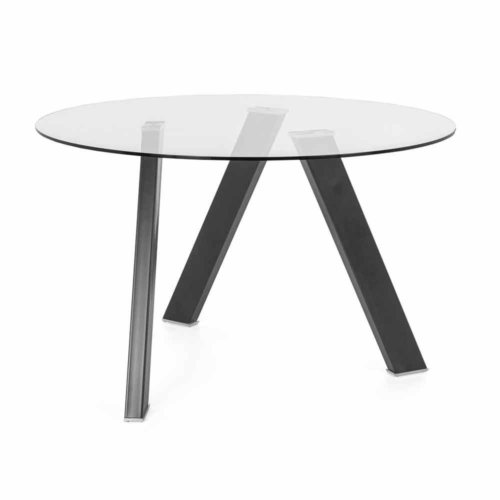 Tavoli Da Pranzo Rotondi In Vetro.Tavolo Moderno Rotondo Con Piano In Vetro E Base Metallo Grigio