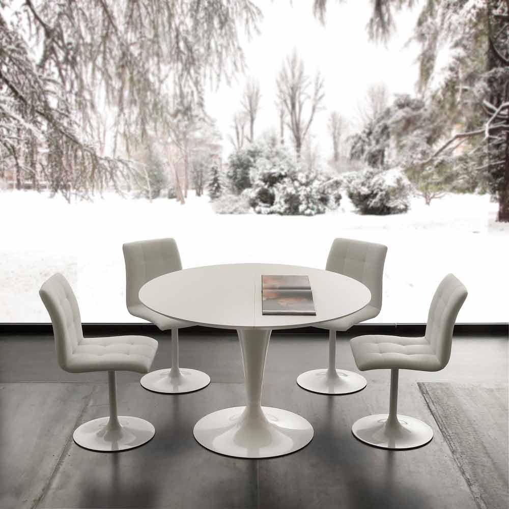 Tavolo tondo allungabile fino a 170 cm in legno Topeka ...