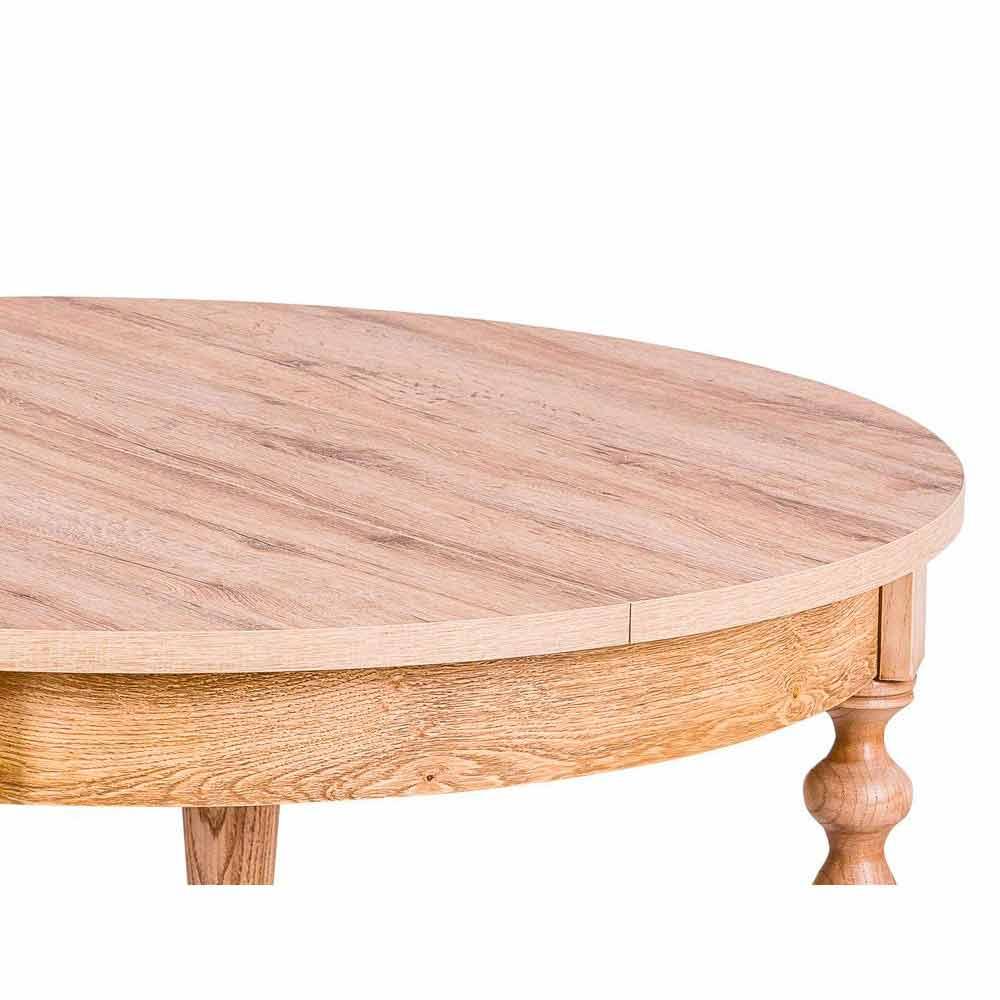 Tavolo da pranzo tondo allungabile in legno Alfio Tondo, made in Italy