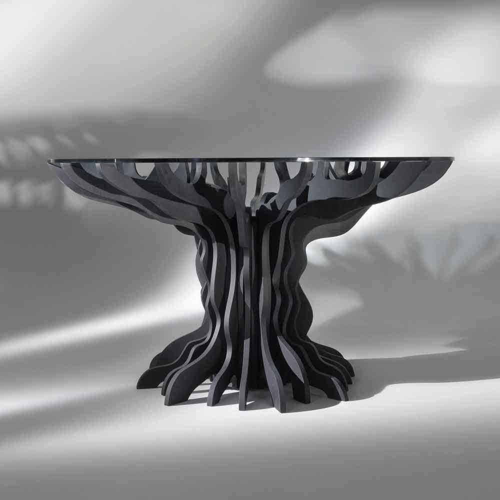 Tavolo da pranzo tondo cassia piano in legno nero e top for Tavolo nero
