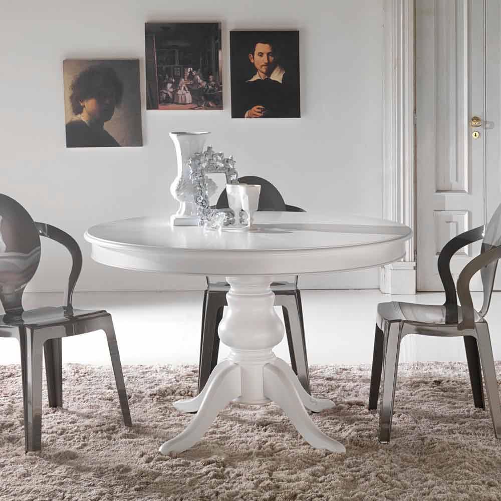 Tavolo da pranzo tondo classico in legno massello oliva for Tavolo da pranzo design