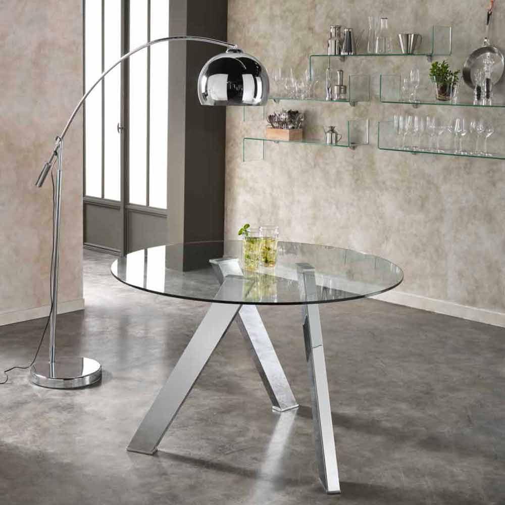 Tavolo da pranzo tondo con top in vetro adamo design moderno - Tavoli da pranzo ferro battuto e vetro ...